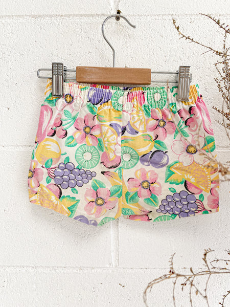 VINTAGE Kids Tutti Fruity Cotton Shorts Size 1-2