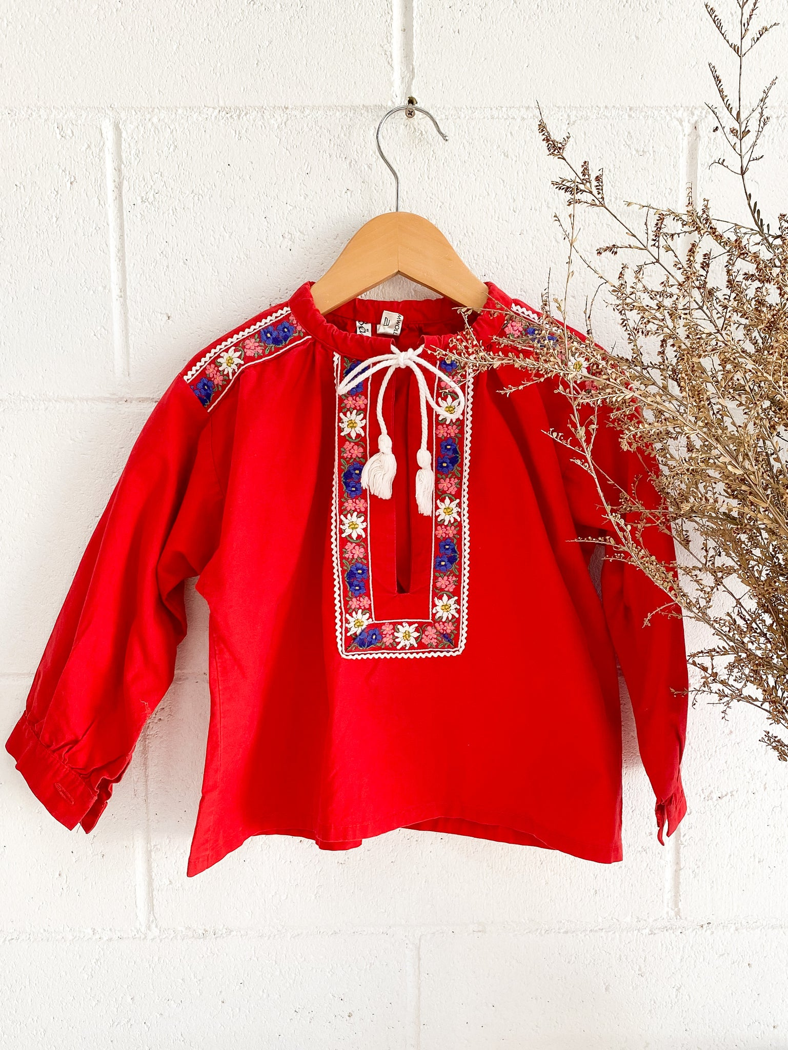 Vintage 1970's Red Cotton Folk Blouse