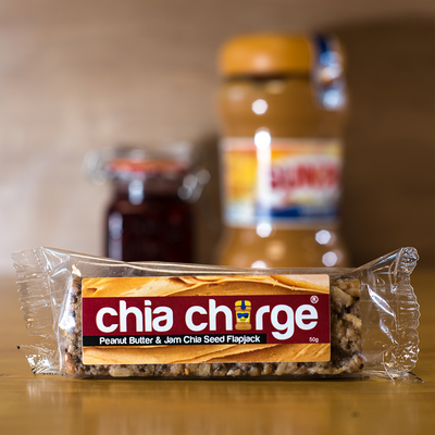 Chia Charge Bars Mixed Box  10 + 2 FREE Limited Edition Flapjacks - Chocolate Hazelnut or Peanut Butter & Jam or Mixed boxes