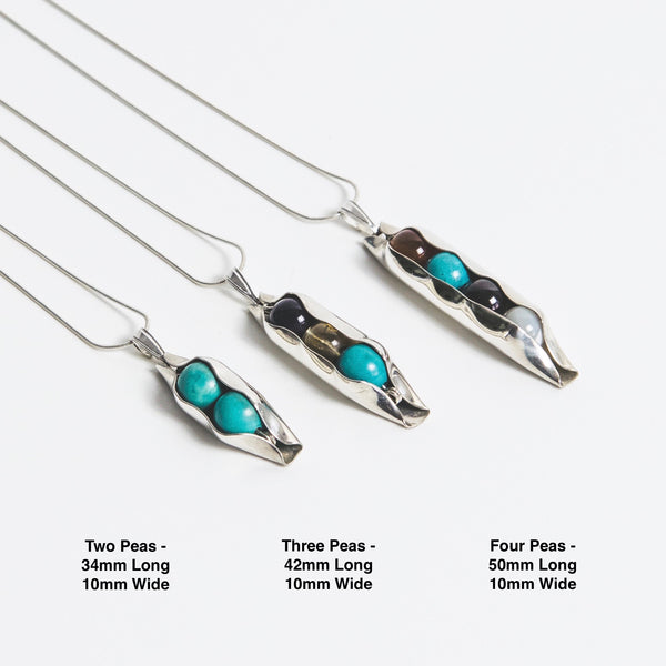 57th Wedding Anniversary Gift - Two Peas In A Pod Necklace - Choose your Birthstone Combination