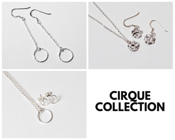 Cirque Dangly Chain Diamond Cut Earrings