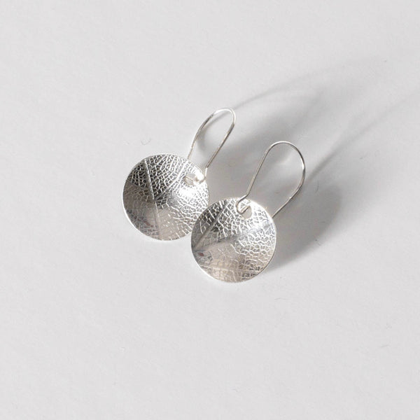 Leaf Textured Domed Dangly Earrings