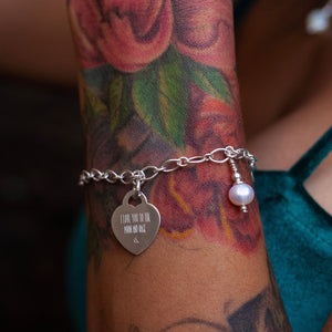Heart Engraved & Birthstone Bracelet