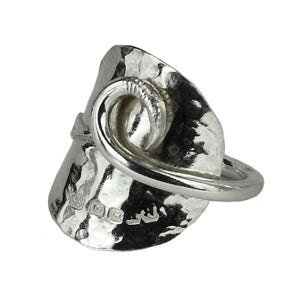 Solid Silver Coffee Bean Spoon Swirl Ring
