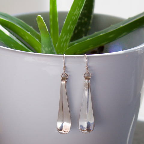 Solid Silver Spoon Earrings - Teaspoon Handle Drop Earrings