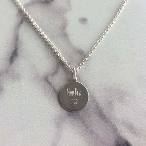 Round Disc Engraved Necklace