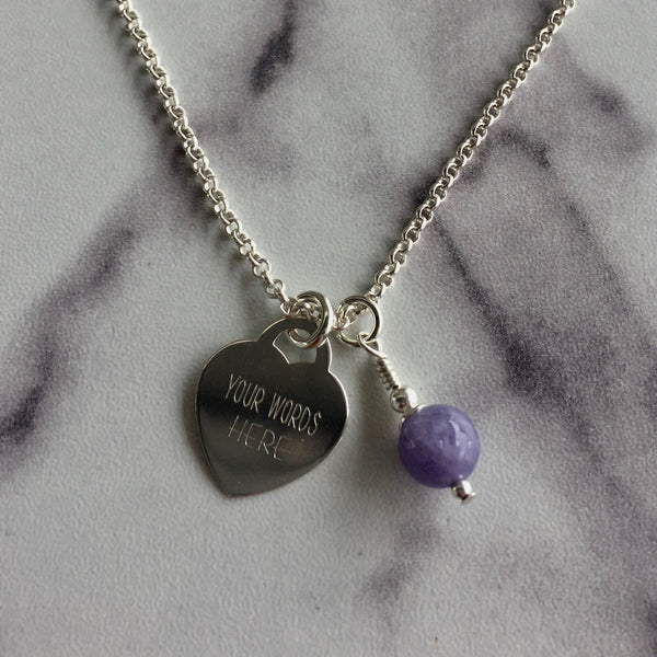 Heart Engraved & Birthstone Necklace