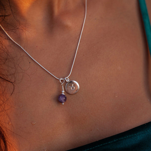 Revolving Initial & Birthstone Necklace