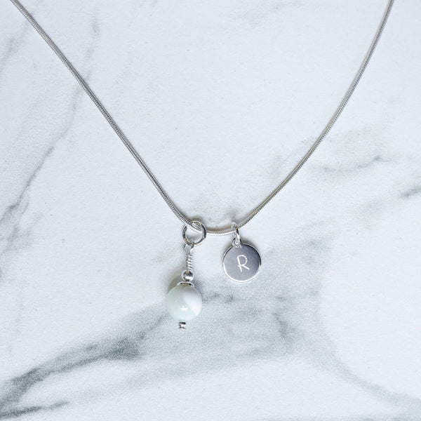 Tiny Initial & Birthstone Necklace