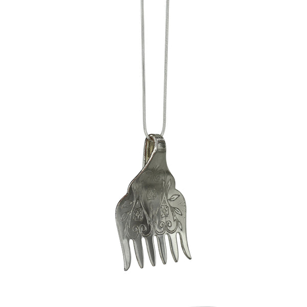Silver Plated Sardine Fork Pendant