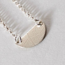 Load image into Gallery viewer, Leaf Textured Tiny Semi Circle Necklace