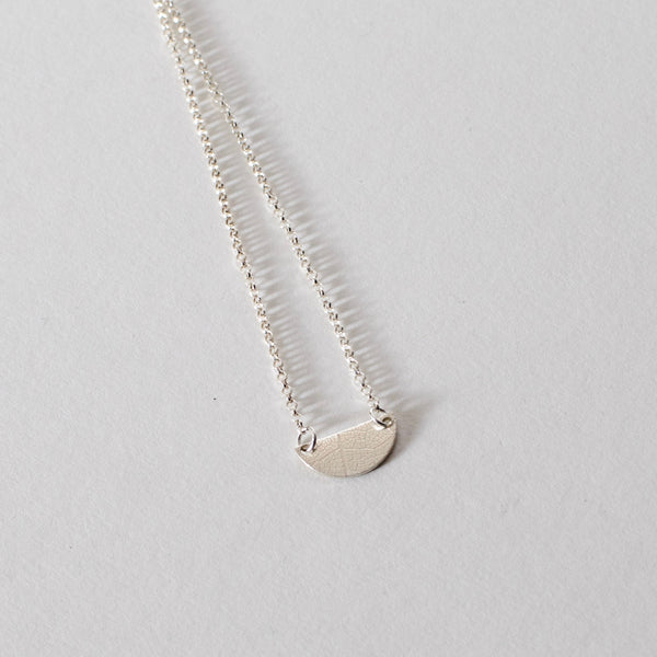Leaf Textured Tiny Semi Circle Necklace