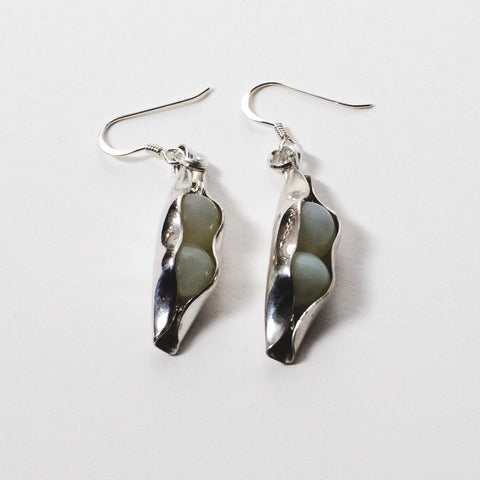 35th Wedding Anniversary - Jade Two Peas In A Pod Earrings