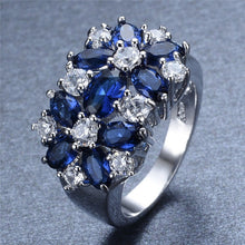 White Gold Filled Flower Design Multi Stone Ring