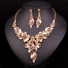 Glamorous Multi Crystal Earrings and Necklace Set
