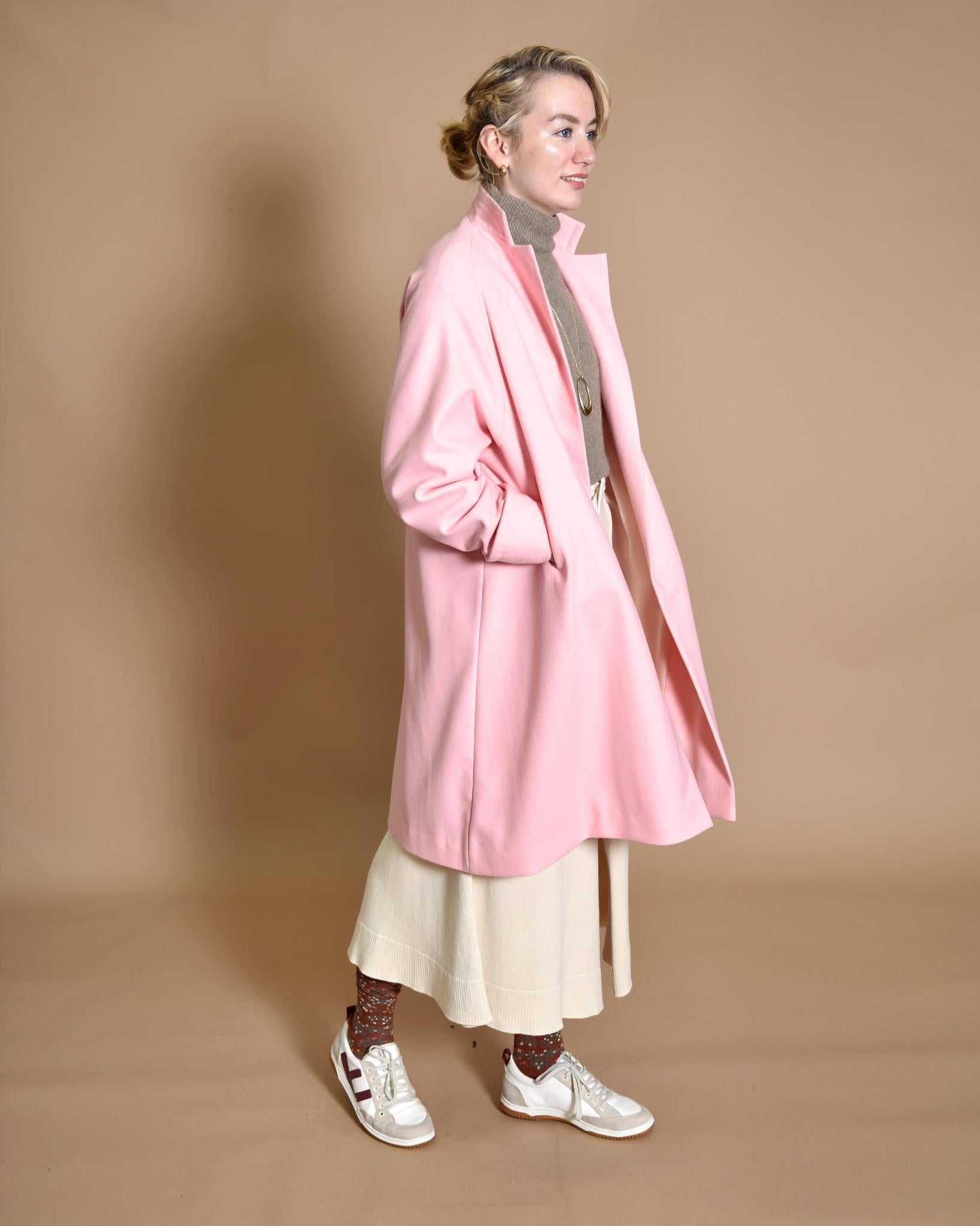 NATALIE B COLEMAN Wool Coat with Sleeve Motif Soft Pink