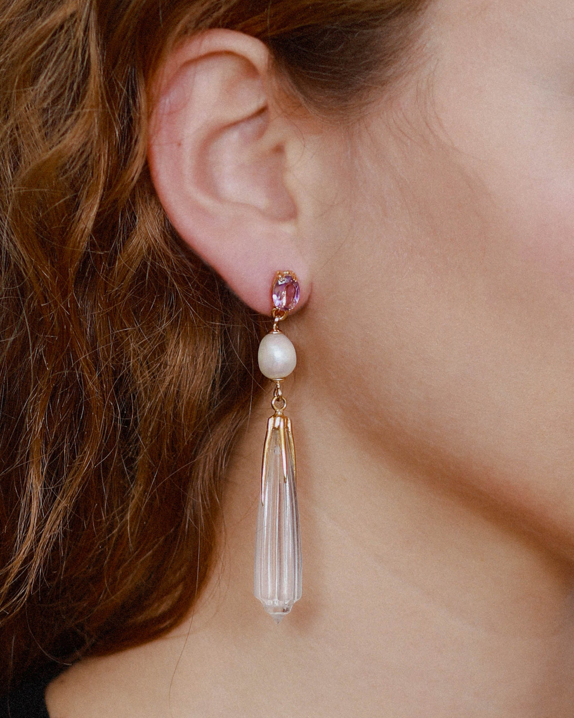 BEATRIZ PALACIOS Heavy Pearl Drop Earrings / P16