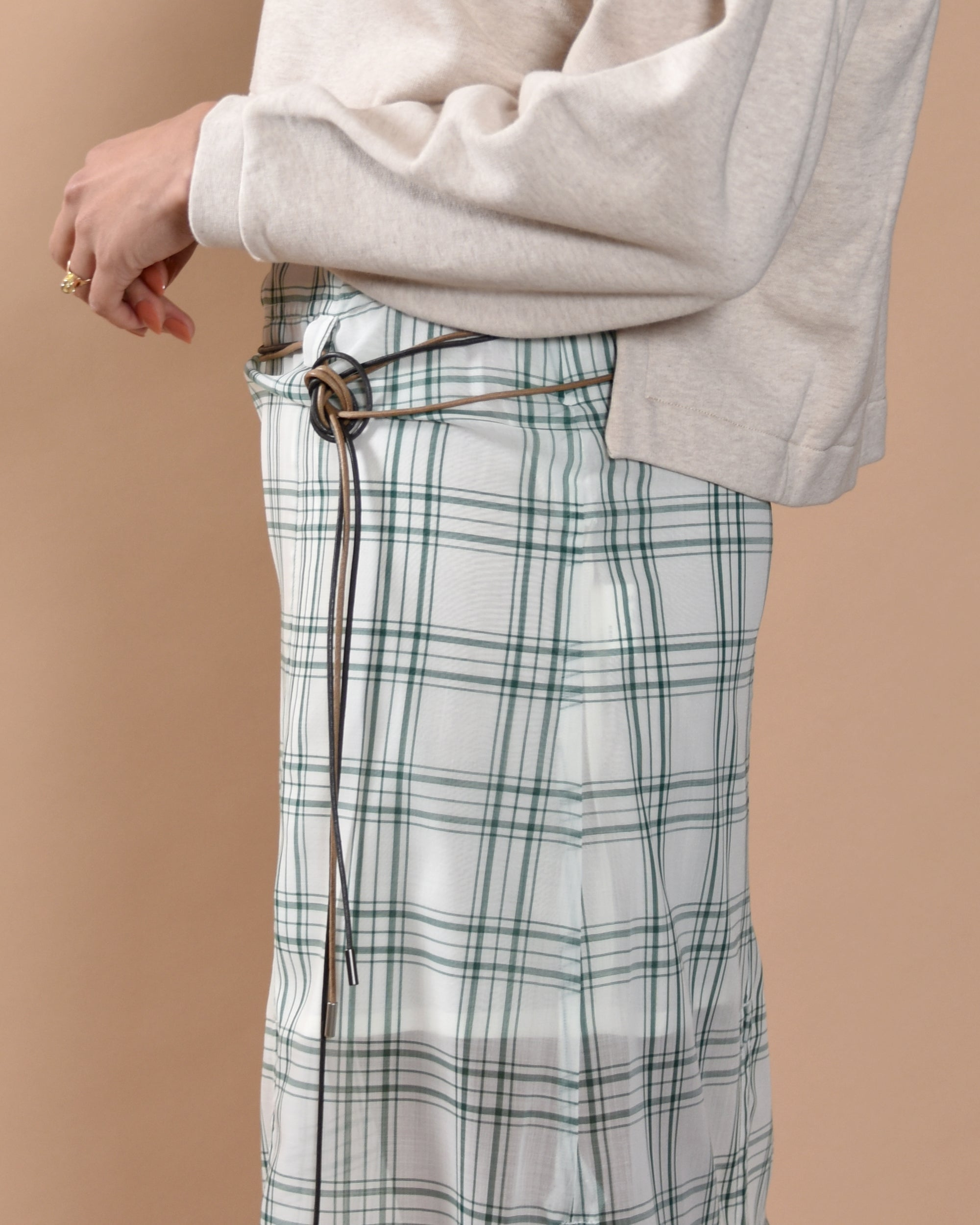 IHNN Made in Japan - Asymmetric Skirt / Green Check
