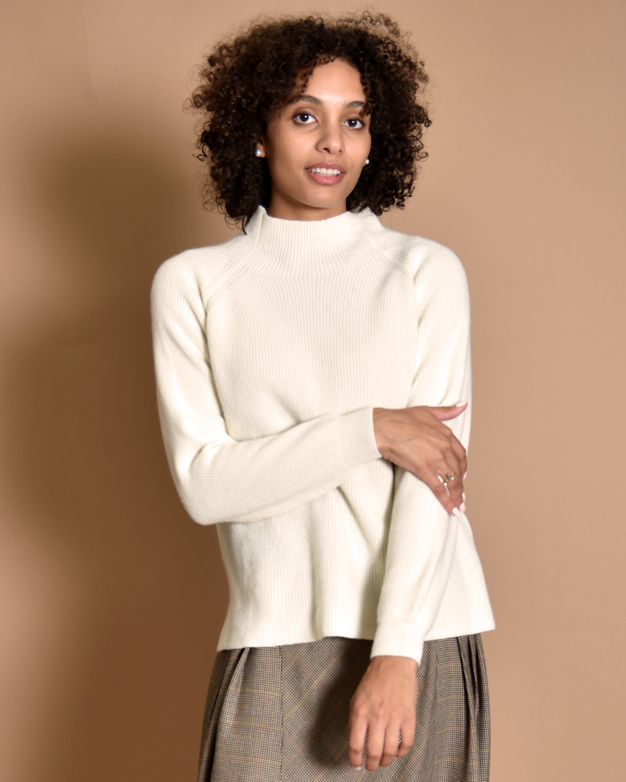 LIAH Barei Italian Cashmere High Neck Sweater / Cream