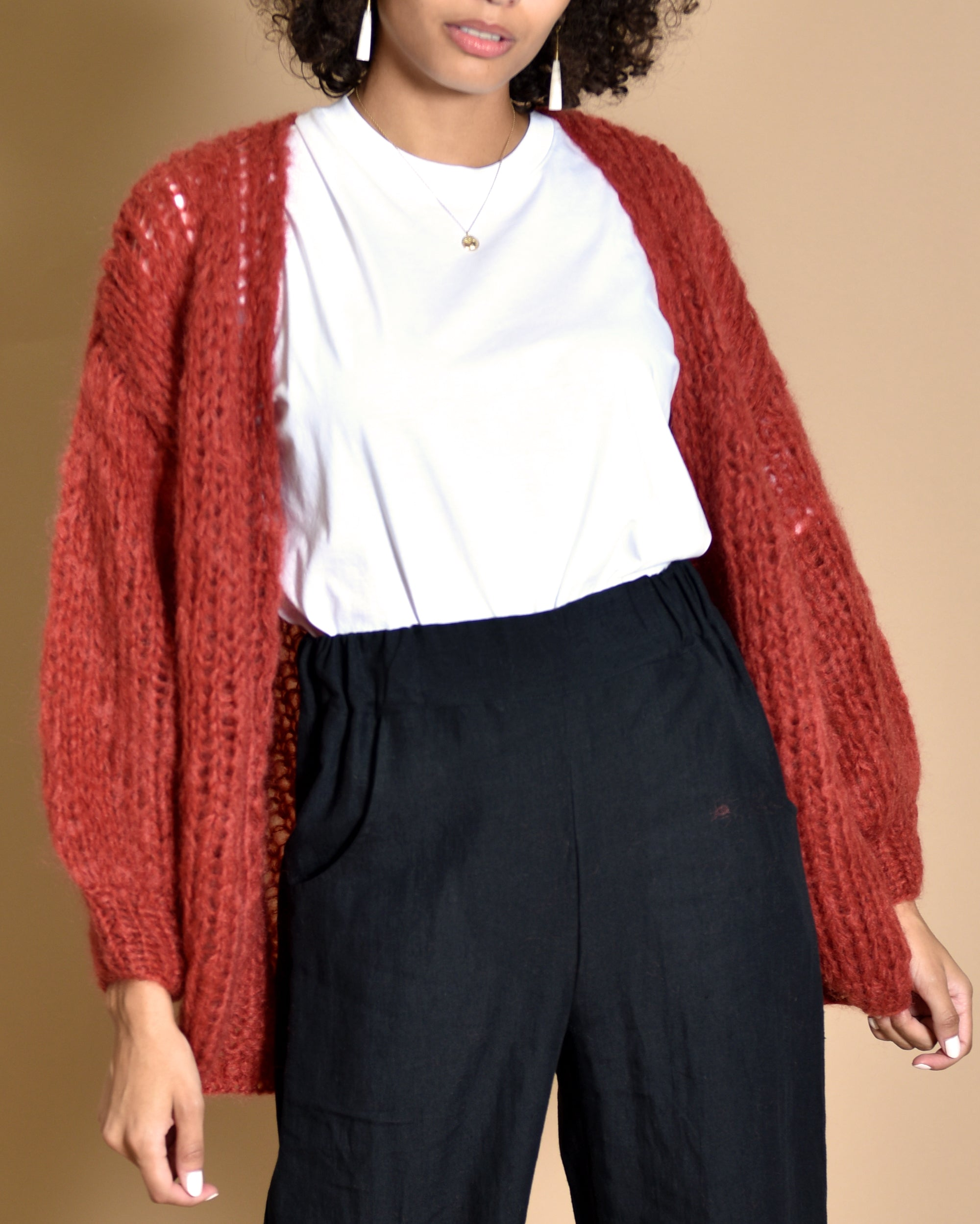MAIAMI Oversized Mohair Cardigan / Rusty Red