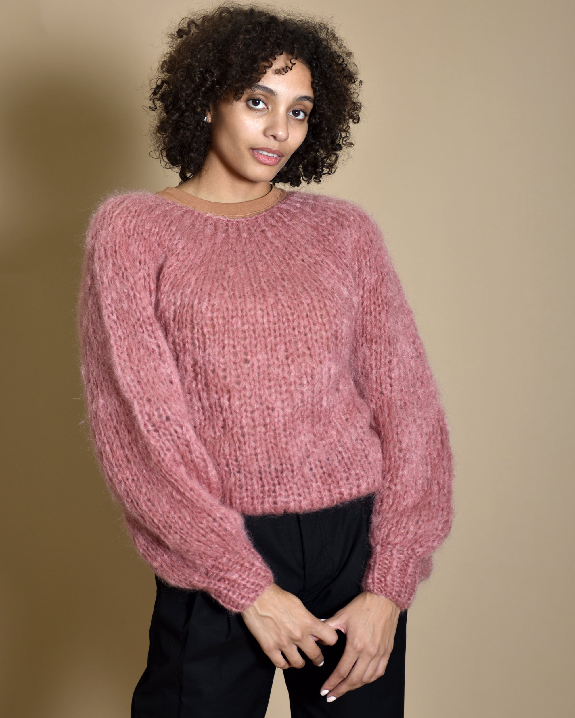 MAIAMI Blouse Sleeve Mohair Sweater / Cinder Rose