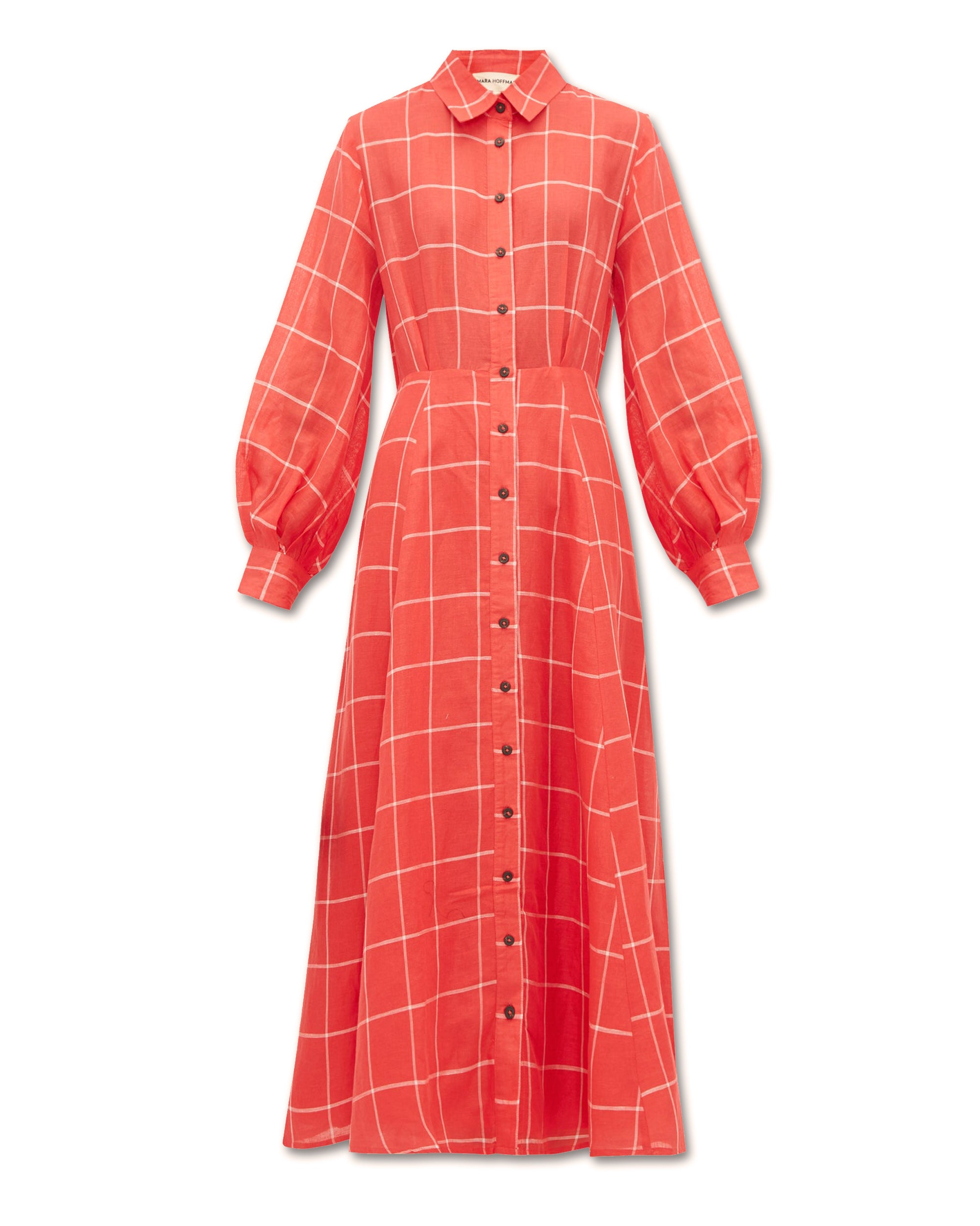 MARA HOFFMAN Lilliana Shirt Dress Red Check