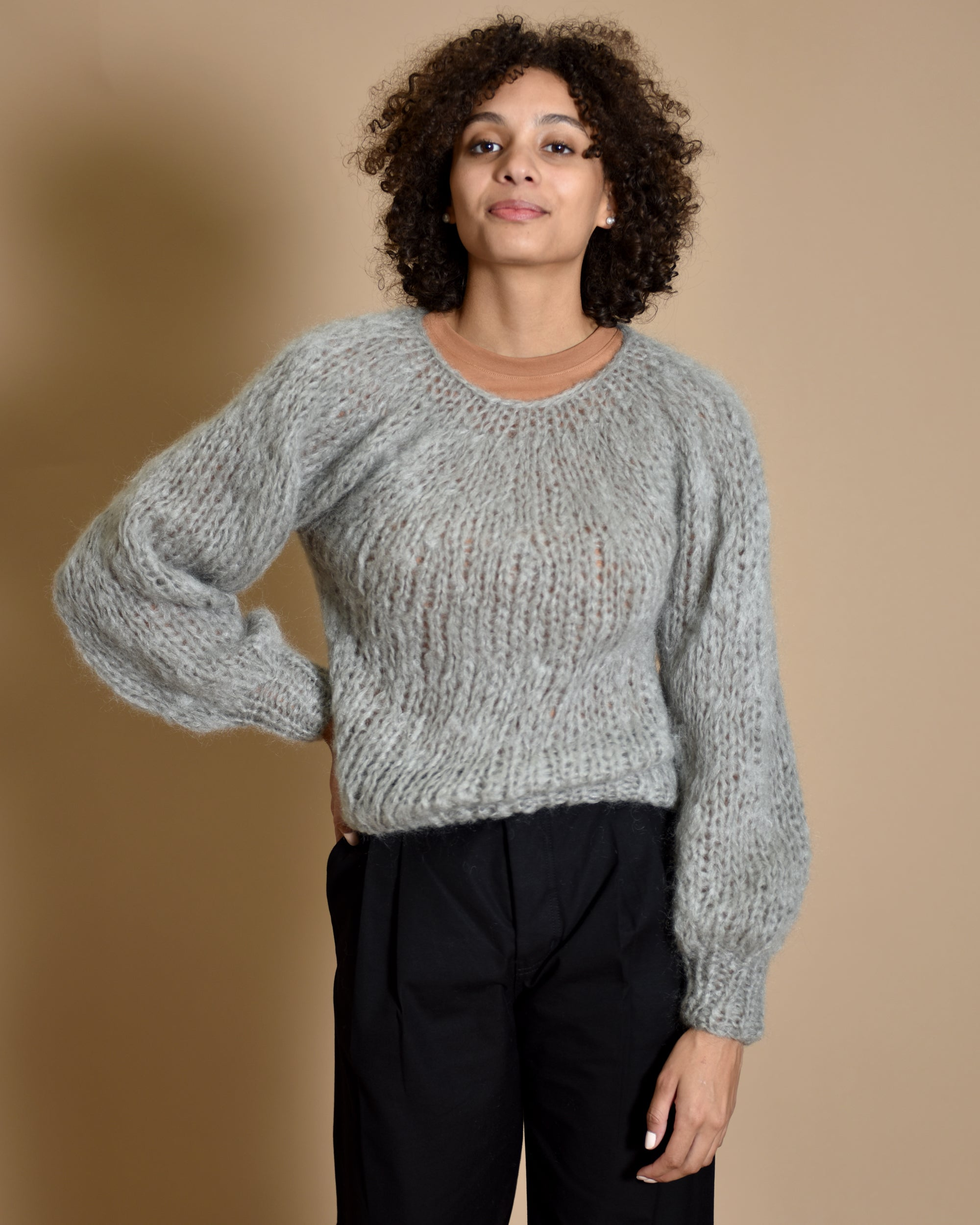 MAIAMI Blouse Sleeve Mohair Sweater / Silver