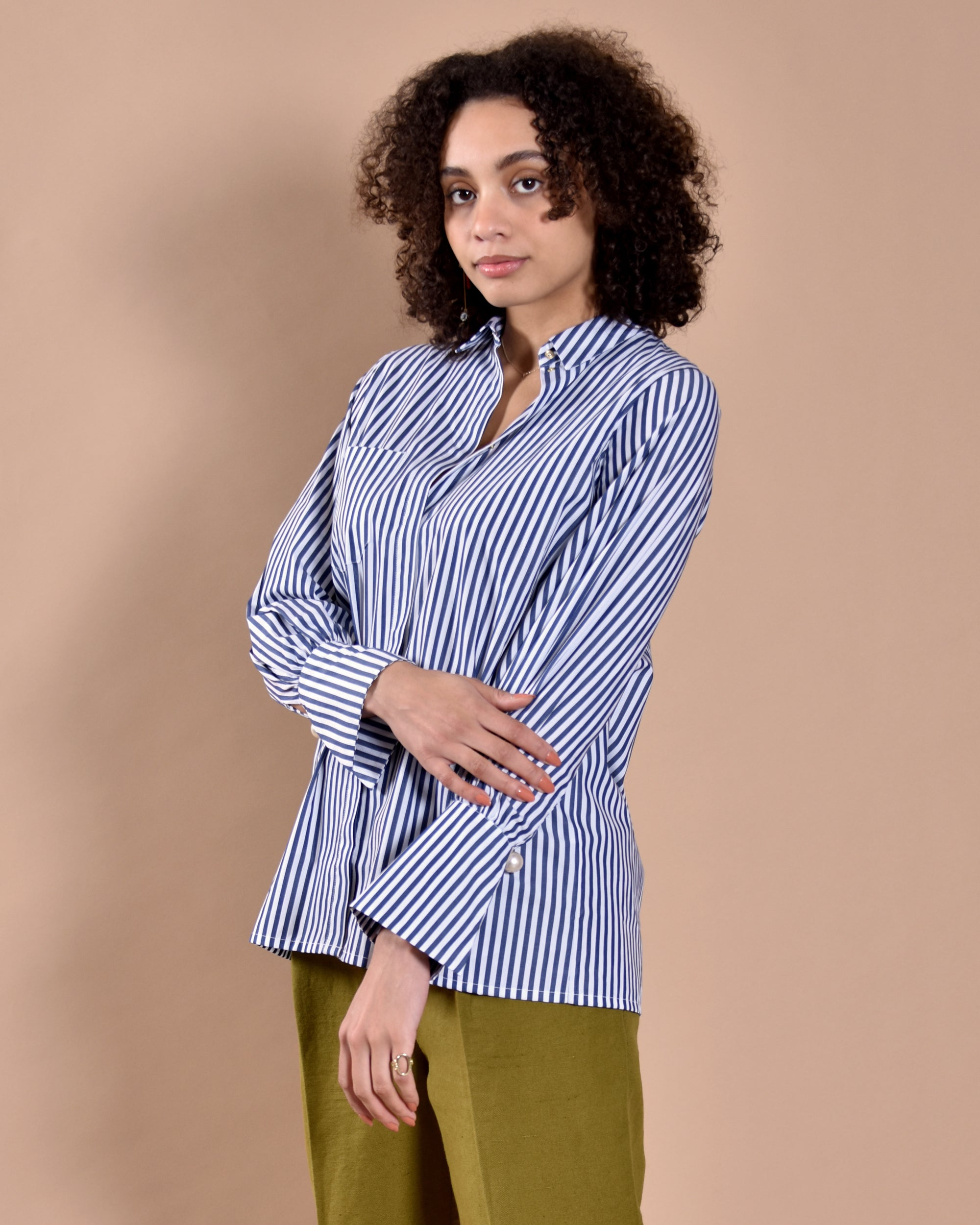 MOTHER OF PEARL Miles Stripe Shirt / Navy & White