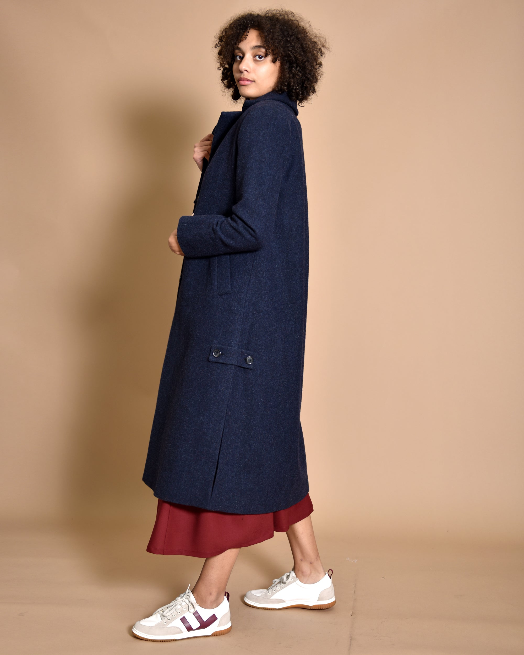 ATRIUM Tailored Wool Coat / Navy