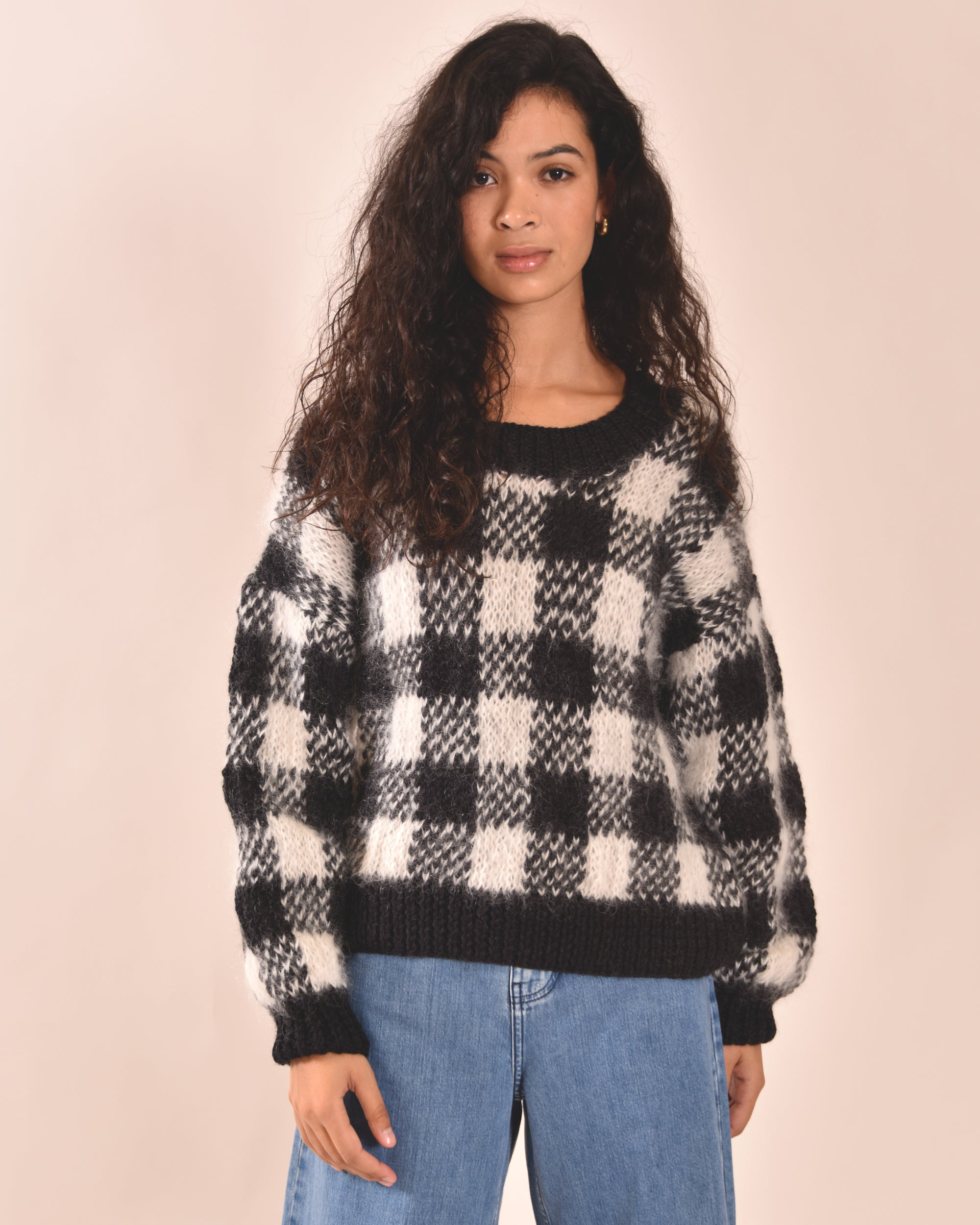 KOWTOW Gingham Hand Knit Sweater
