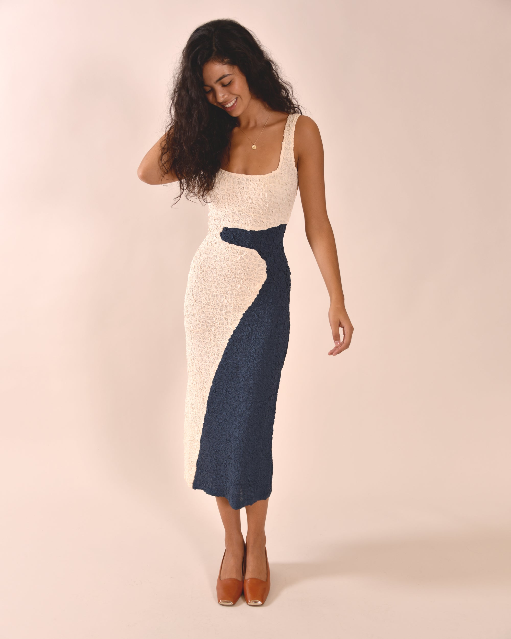 MARA HOFFMAN Sloan Dress / Cream and Navy