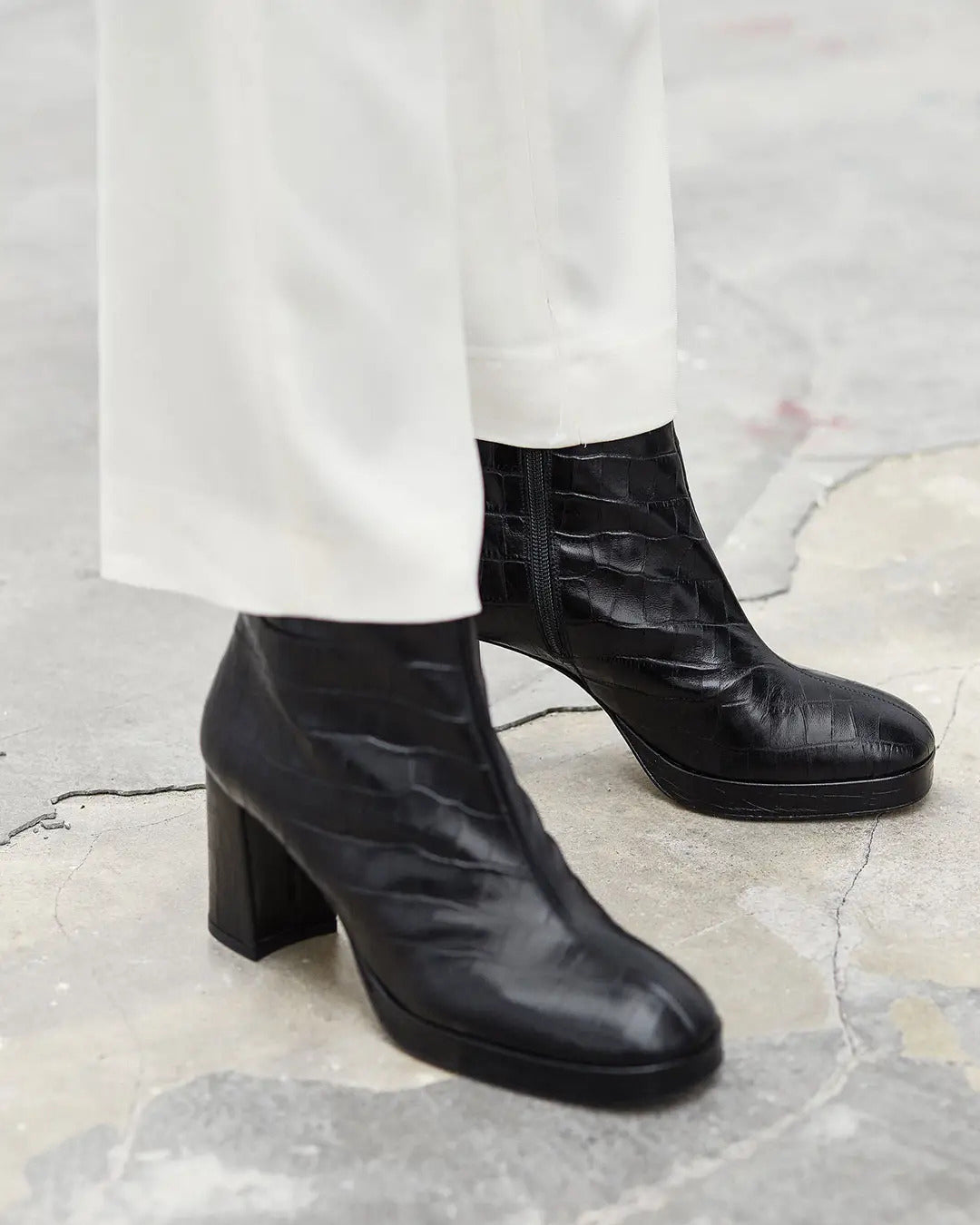 MIISTA Edith Ankle Boots / Black Croc