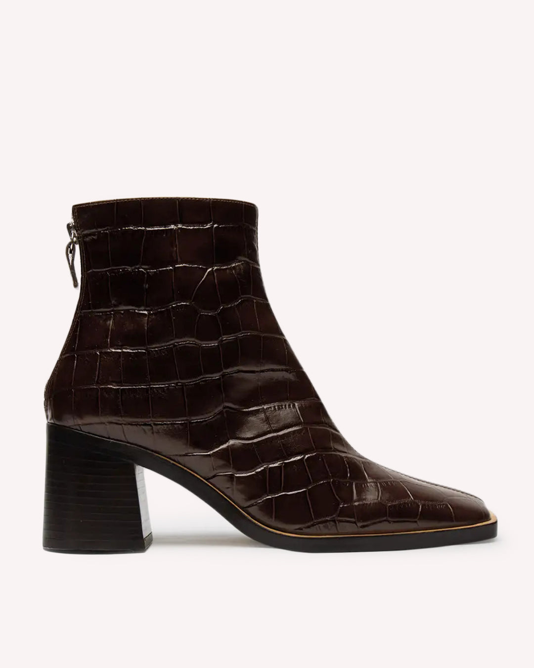 MIISTA Ivy Square Toe Ankle Boot / Brown Croc