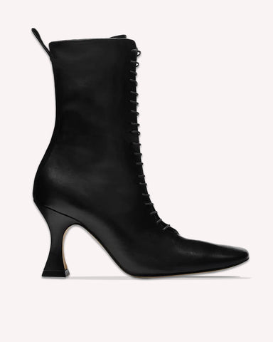 MIISTA Yana Leather Lace-Up Boots / Black