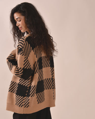 MOTHER OF PEARL Blake Knit Oversized Cardigan / Tan & Black