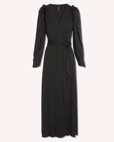 MOTHER OF PEARL Gabriella Wrap Dress / Black