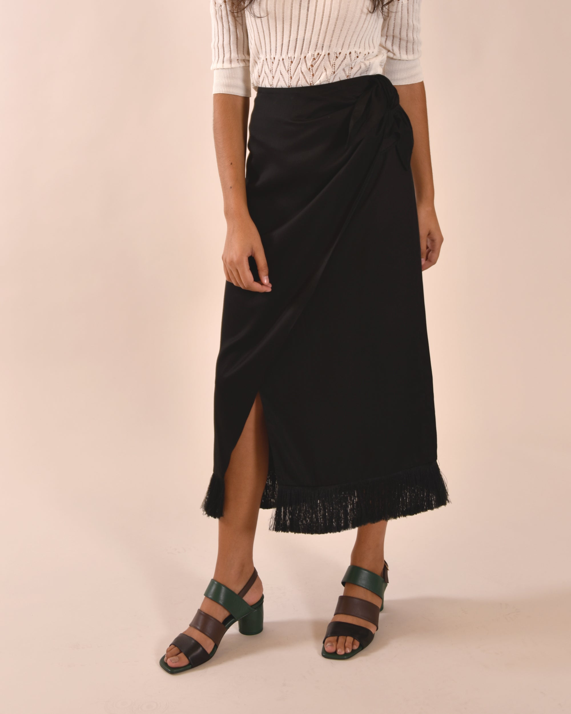 MOTHER OF PEARL Holly Wrap Skirt / Black