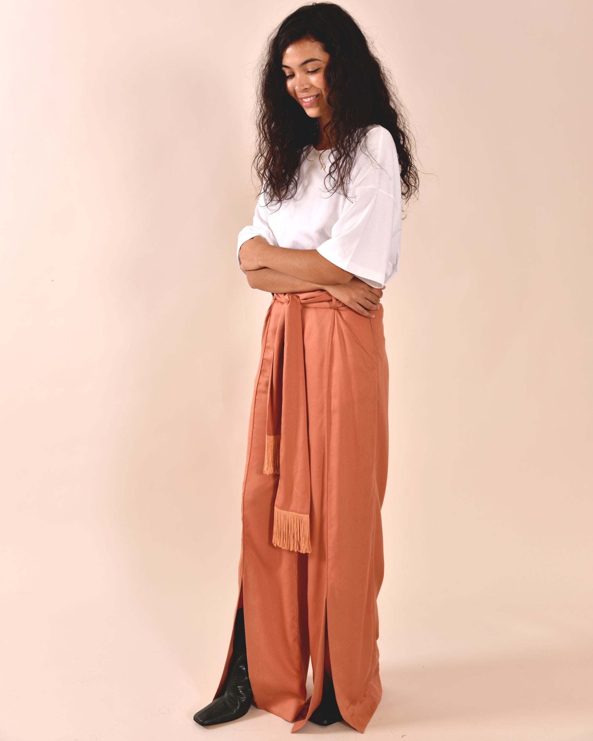 MOTHER OF PEARL Leo Wide Leg Trouser / Salmon