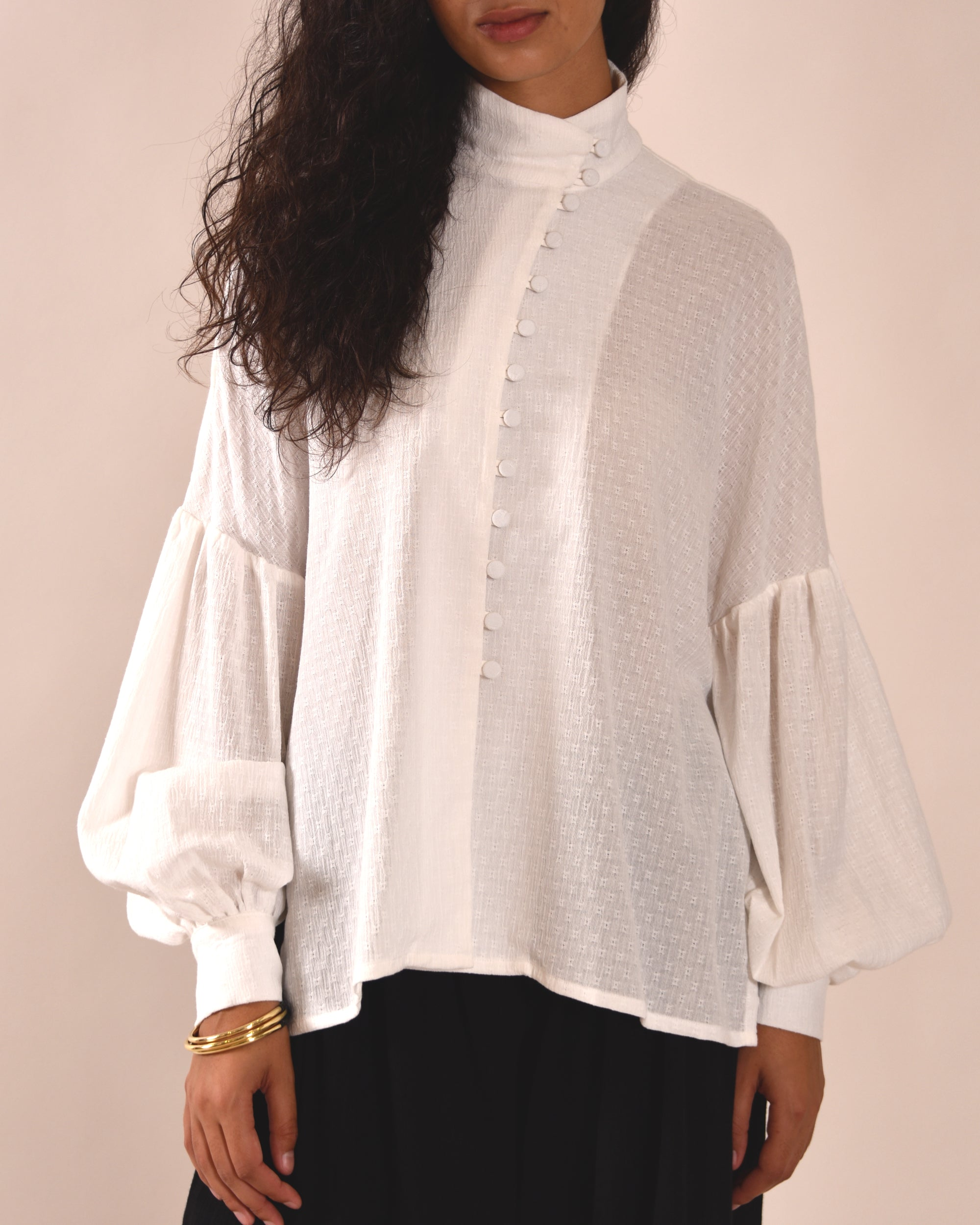 MOTHER OF PEARL Quinn Asymmetric Shirt / White