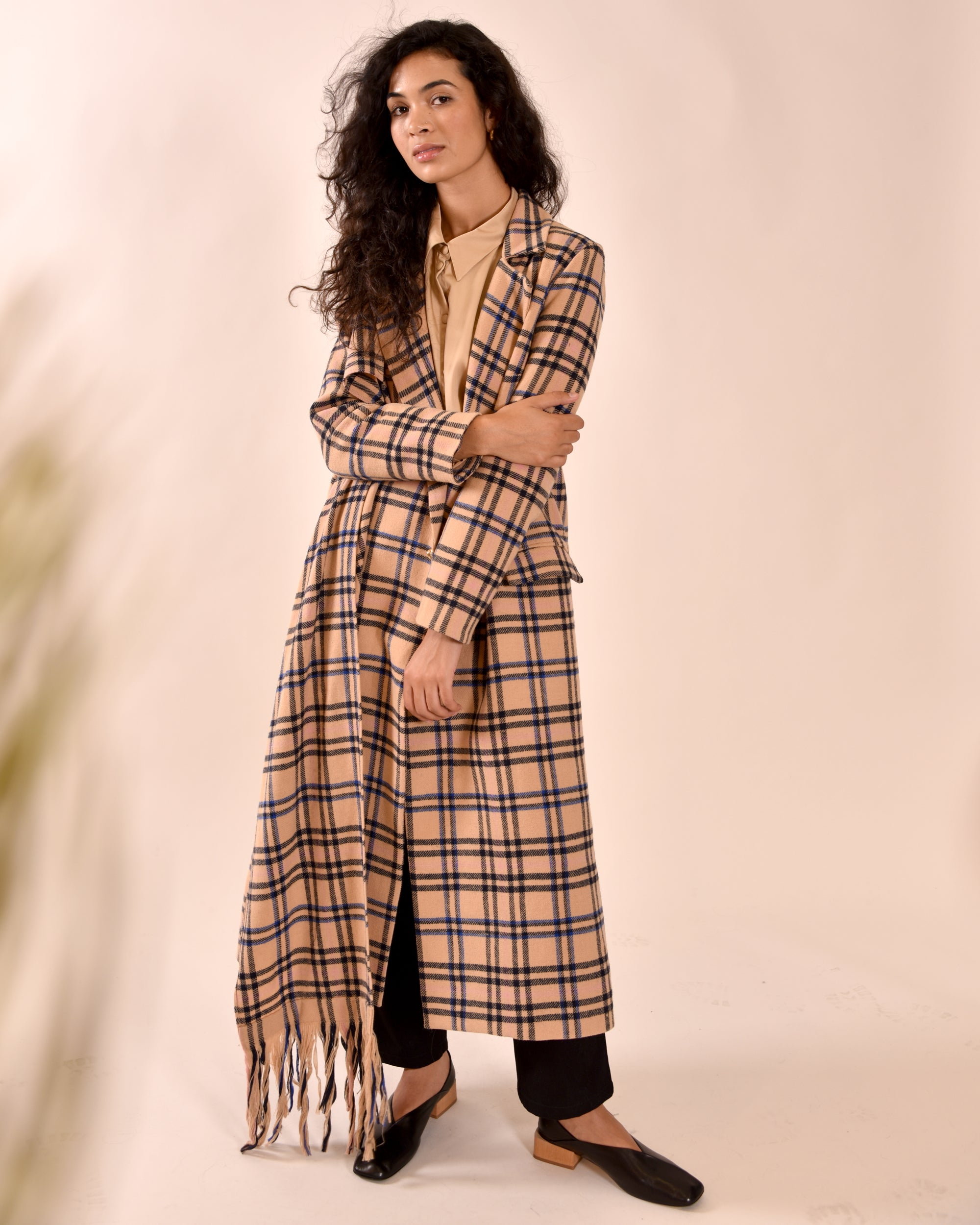 Atrium Dublin - Mother of Pearl Rowan Tan Check Coat. Sustainably made wool coat with built-in scarf.