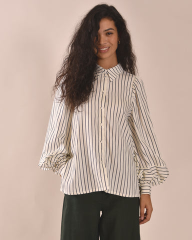 MOTHER OF PEARL Tegan Shirt / Navy Stripe