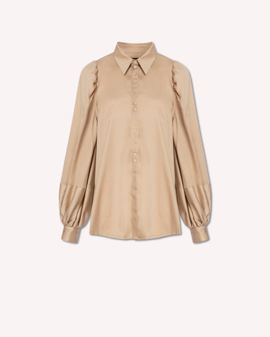 MOTHER OF PEARL Tegan Balloon Sleeve Shirt / Tan