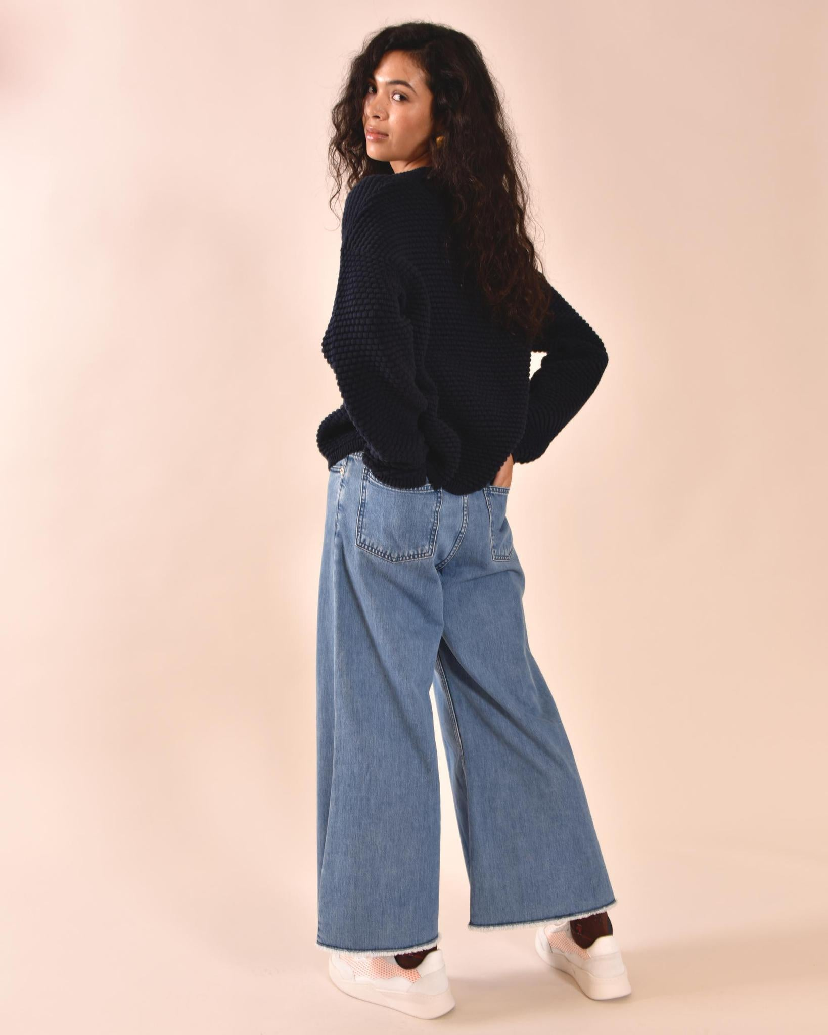 MOTHER OF PEARL Chloe Cropped Blue Jeans