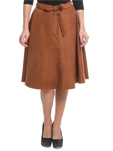 Polyester A Line Skirt For Women - Brown