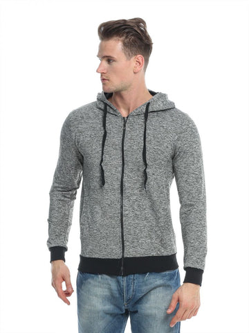 Reflex 2042MGI56 Polyester Zip Up Hoodie For Men - Grey