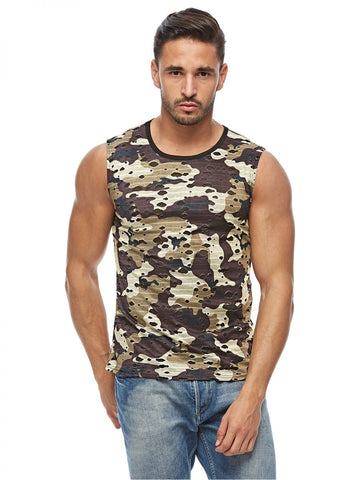 MGL64O MENS TSHIRT SLEEVELESS (L. BROWN)