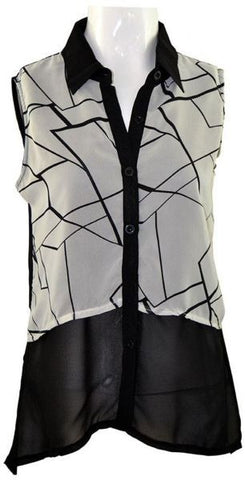 Reflex LGD61A Blouse For Women , Black And White
