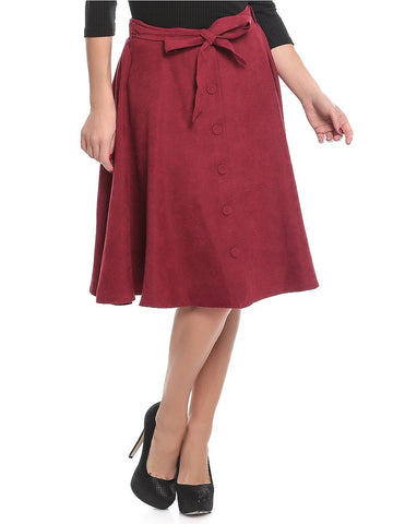 Polyester A Line Skirt For Women - Maroon