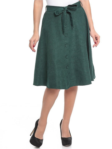 Polyester A Line Skirt For Women - Green