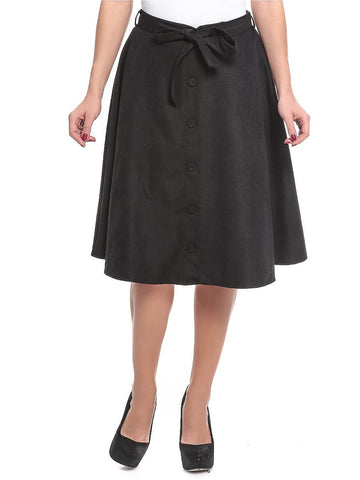 Polyester A Line Skirt For Women - Black